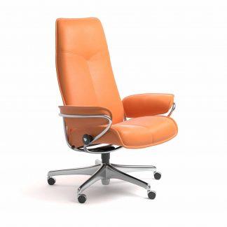 Sessel CITY High Back Home Office Leder Paloma apricot orange Starbase Gestell metall mit Rollen Stressless
