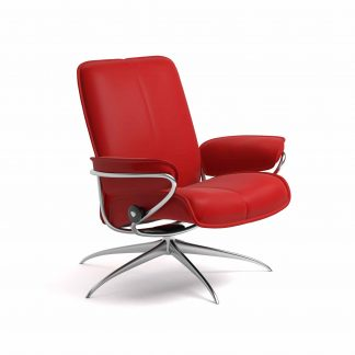 Sessel CITY Low Back Leder Batick chilli red Starbase Gestell metall Stressless