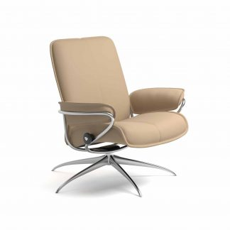 Sessel CITY Low Back Leder Paloma beige Starbase Gestell metall Stressless