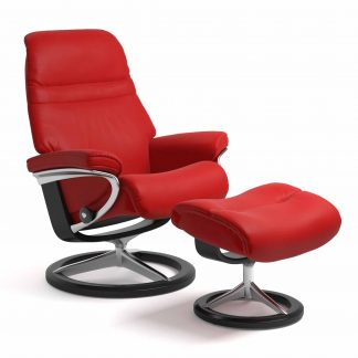 Sessel SUNRISE Signature mit Hocker Leder Batick chilli red Gestell schwarz Stressless