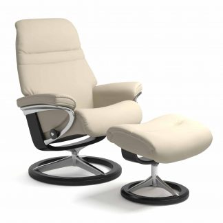 Sessel SUNRISE Signature mit Hocker Leder Batick cream Gestell schwarz Stressless