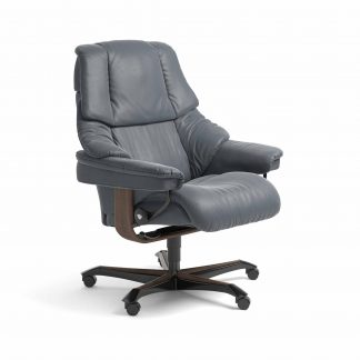 Sessel RENO Home Office Leder Batick atlantic blue Gestell walnuss mit Rollen Stressless