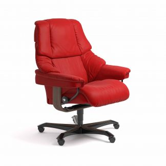 Sessel RENO Home Office Leder Batick chilli red Gestell walnuss mit Rollen Stressless