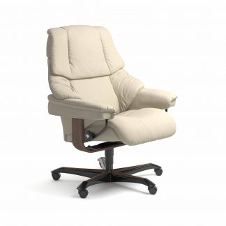 Sessel RENO Home Office Leder Batick cream Gestell walnuss mit Rollen Stressless