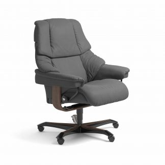 Sessel RENO Home Office Leder Batick grau Gestell walnuss mit Rollen Stressless