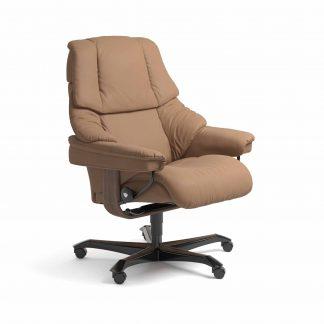 Sessel RENO Home Office Leder Batick latte Gestell walnuss mit Rollen Stressless