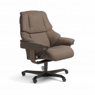 Sessel RENO Home Office Leder Batick mole Gestell walnuss mit Rollen Stressless