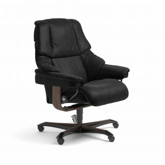 Sessel RENO Home Office Leder Batick schwarz Gestell walnuss mit Rollen Stressless