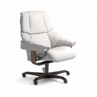 Sessel RENO Home Office Leder Batick snow Gestell walnuss mit Rollen Stressless