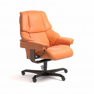 Sessel RENO Home Office Leder Paloma apricot orange Gestell walnuss mit Rollen Stressless