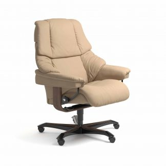 Sessel RENO Home Office Leder Paloma beige Gestell walnuss mit Rollen Stressless
