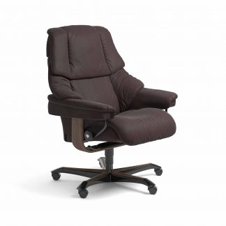 Sessel RENO Home Office Leder Paloma chocolate Gestell walnuss mit Rollen Stressless