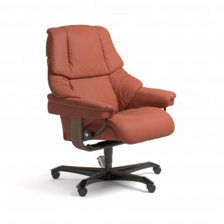 Sessel RENO Home Office Leder Paloma henna Gestell walnuss mit Rollen Stressless