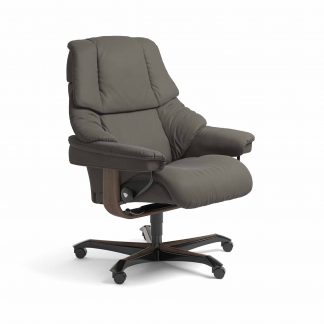 Sessel RENO Home Office Leder Paloma metal grey Gestell walnuss mit Rollen Stressless