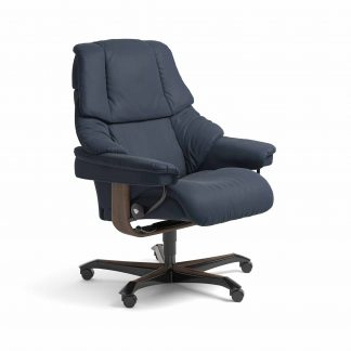 Sessel RENO Home Office Leder Paloma oxford blue Gestell walnuss mit Rollen Stressless