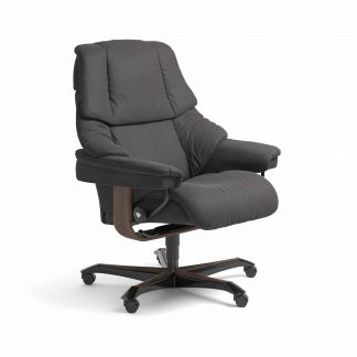 Sessel RENO Home Office Leder Paloma rock Gestell walnuss mit Rollen Stressless