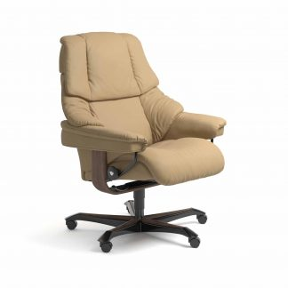 Sessel RENO Home Office Leder Paloma sand Gestell walnuss mit Rollen Stressless