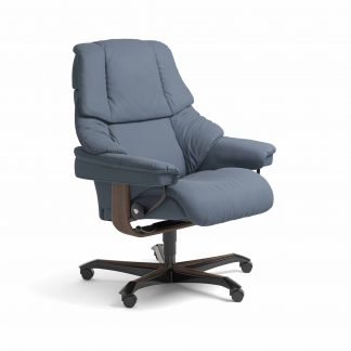 Sessel RENO Home Office Leder Paloma sparrow blue Gestell walnuss mit Rollen Stressless