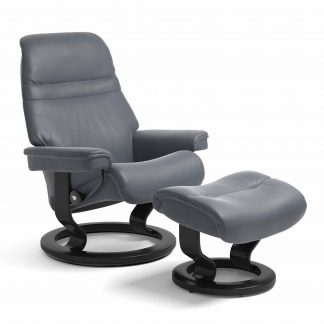 Sessel SUNRISE Classic mit Hocker Leder Paloma atlantic blue Gestell schwarz Stressless