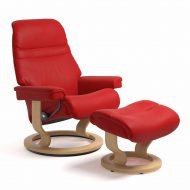 Sessel SUNRISE Classic mit Hocker Leder Paloma chilli red Gestell natur Stressless