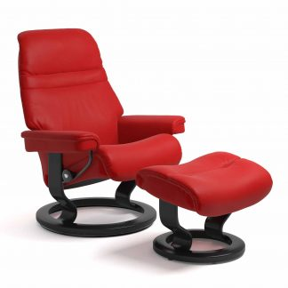 Sessel SUNRISE Classic mit Hocker Leder Paloma chilli red Gestell schwarz Stressless