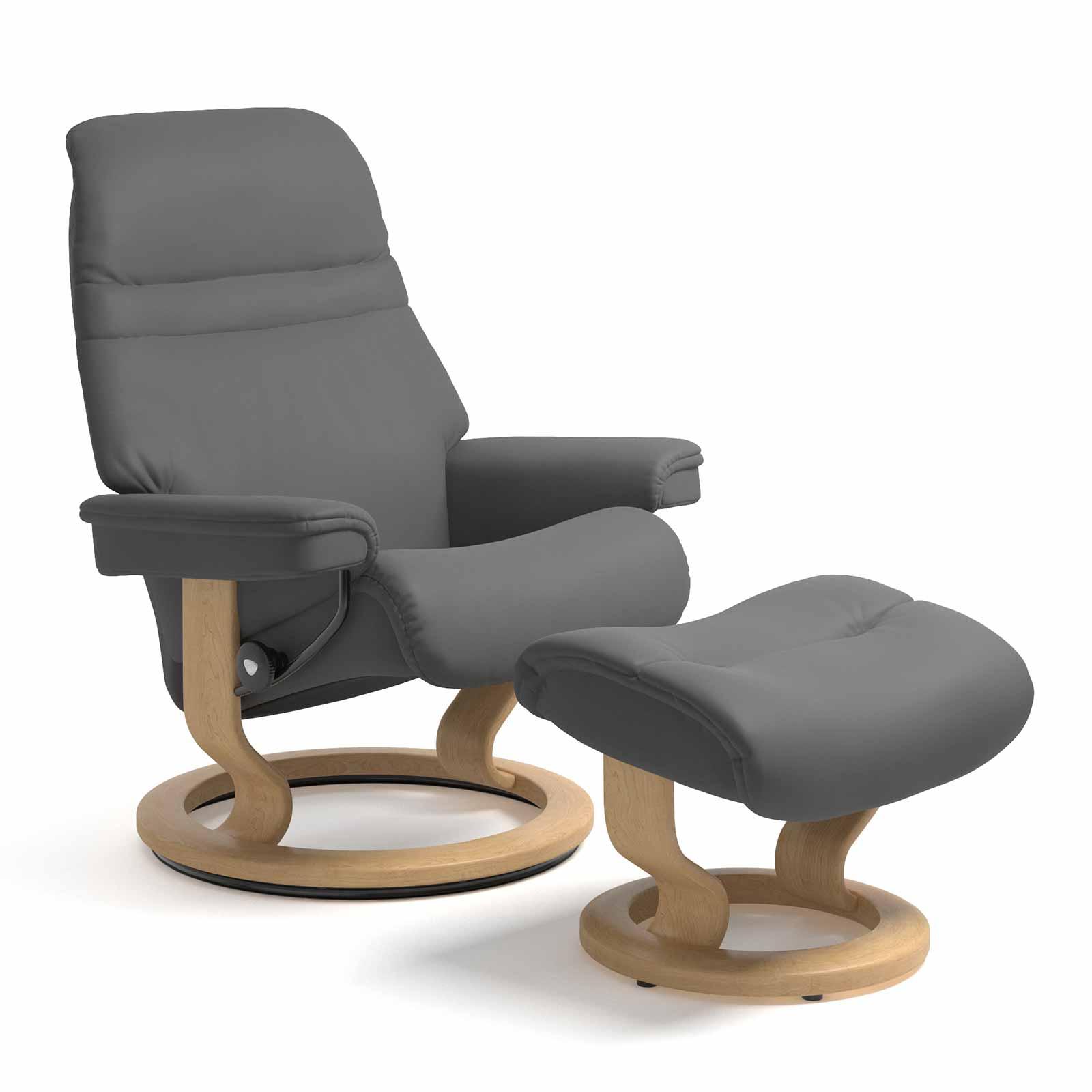 stressless sessel sunrise classic leder batick grau mit hocker. Black Bedroom Furniture Sets. Home Design Ideas