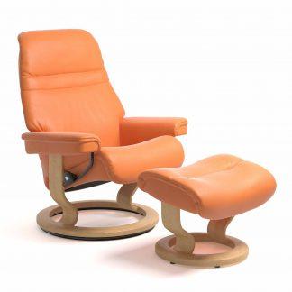 Sessel SUNRISE Classic mit Hocker Leder Paloma apricot orange Gestell natur Stressless
