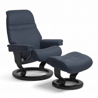 Sessel SUNRISE Classic mit Hocker Leder Paloma oxford blue Gestell schwarz Stressless