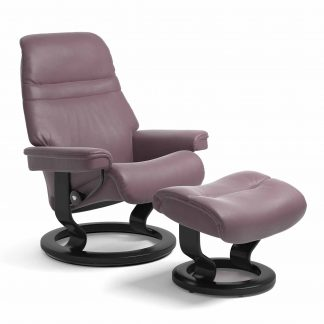 Sessel SUNRISE Classic mit Hocker Leder Paloma purple plum Gestell schwarz Stressless