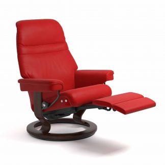 Sessel SUNRISE Classic Legcomfort Leder Batick chilli red Gestell braun Stressless