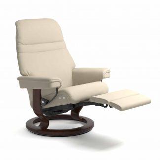 Sessel SUNRISE Classic Legcomfort Leder Batick cream Gestell braun Stressless