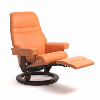 Sessel SUNRISE Classic Legcomfort Leder Paloma apricot orange Gestell braun Stressless