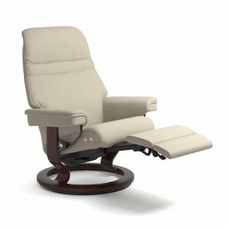 Sessel SUNRISE Classic Legcomfort Leder Paloma light grey Gestell braun Stressless