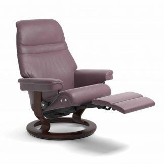 Sessel SUNRISE Classic Legcomfort Leder Paloma purple plum Gestell braun Stressless