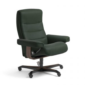 Sessel NORDIC Home Office Leder Paloma new forest Gestell walnuss mit Rollen Stressless