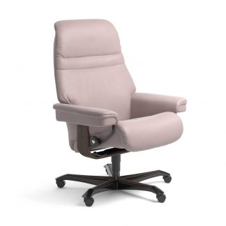 Stressless Sessel SUNRISE mit Lederbezug Batick smoke rose und Home Office wenge mit Rollen