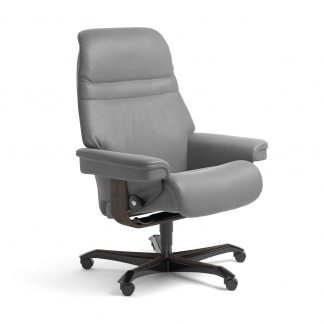 Stressless Sessel SUNRISE mit Lederbezug Batick wild dove und Home Office wenge mit Rollen