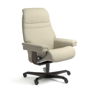 Stressless Sessel SUNRISE mit Lederbezug Paloma light grey und Home Office wenge mit Rollen