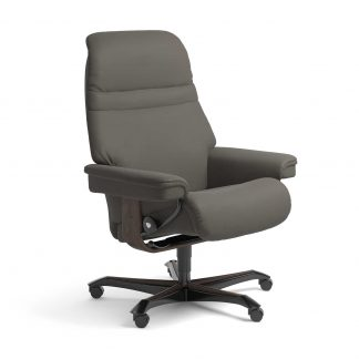 Stressless Sessel SUNRISE mit Lederbezug Paloma metal grey und Home Office wenge mit Rollen