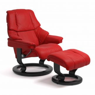 Sessel RENO Classic mit Hocker Leder Batick chilli red Gestell schwarz Stressless