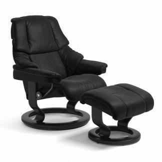 Sessel RENO Classic mit Hocker Leder Batick schwarz Gestell schwarz Stressless