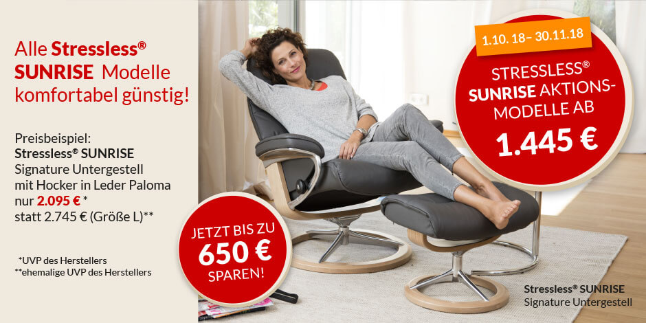 Herbstaktion 2018 Stressless Sunrise Aktion alle Modelle zum Aktionspreis Home Banner Stressless besser