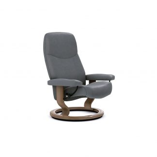 Neues Bild Sessel CONSUL Classic ohne Hocker Leder Batick wild dove Gestell walnuss Stressless