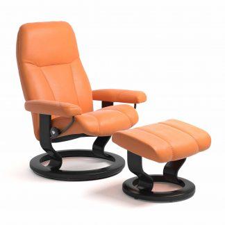 Sessel CONSUL Classic mit Hocker Leder Paloma apricot orange Gestell schwarz Stressless