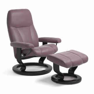Sessel CONSUL Classic mit Hocker Leder Paloma purple plum Gestell schwarz Stressless