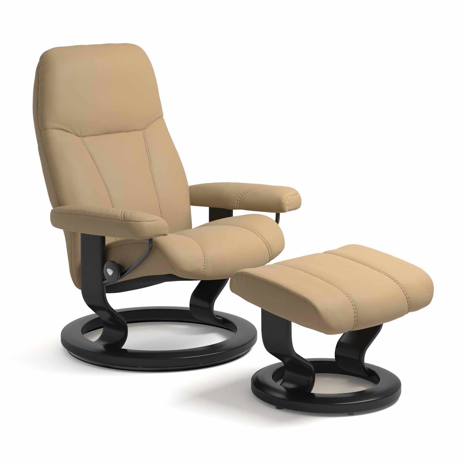stressless consul classic sand mit hocker stressless shop. Black Bedroom Furniture Sets. Home Design Ideas