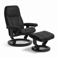 Sessel CONSUL Classic mit Hocker Leder Paloma schwarz Gestell schwarz Stressless