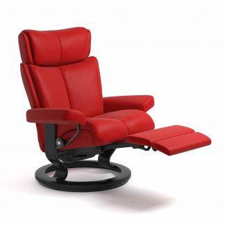 Sessel MAGIC Classic Legcomfort Leder Batick chilli red Gestell schwarz Stressless