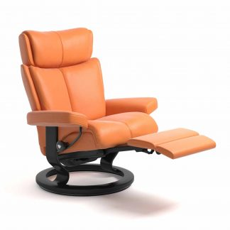 Sessel MAGIC Classic Legcomfort Leder Paloma apricot orange Gestell schwarz Stressless