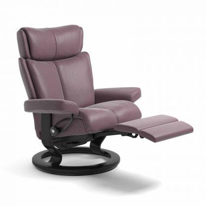 Sessel MAGIC Classic Legcomfort Leder Paloma purple plum Gestell schwarz Stressless